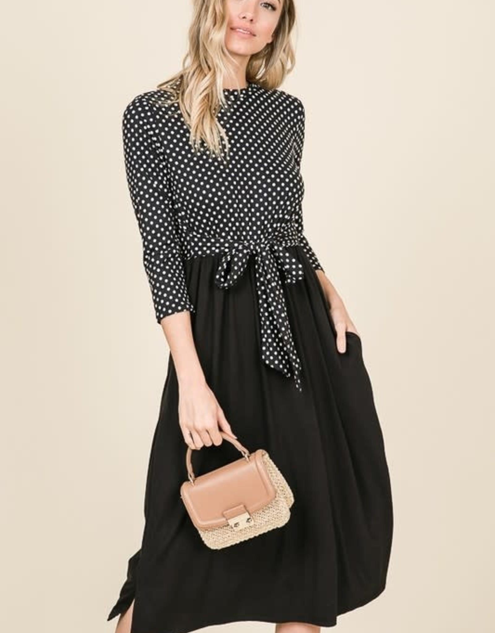 Contrast polka dot & solid waist tie dress