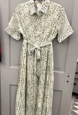 Sage Green Floral Pleated maxi dress