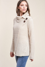 Button detail Cowl Neck Sweater