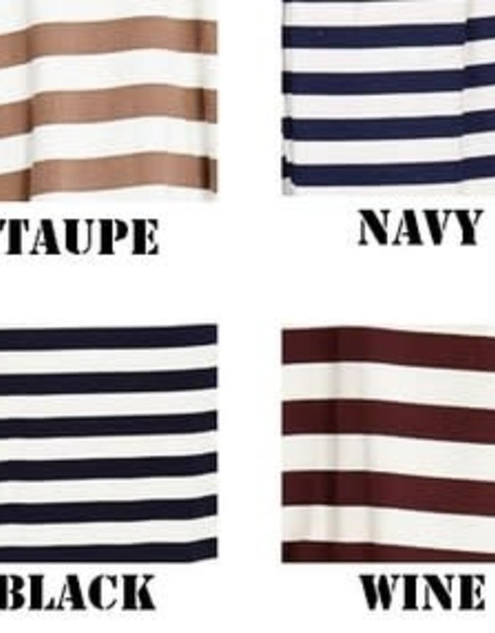 3/4 length sleeve striped midi dress