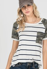 Stripe Camo Front Pocket Top