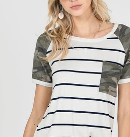 Stripe Camo Front Pocket Top