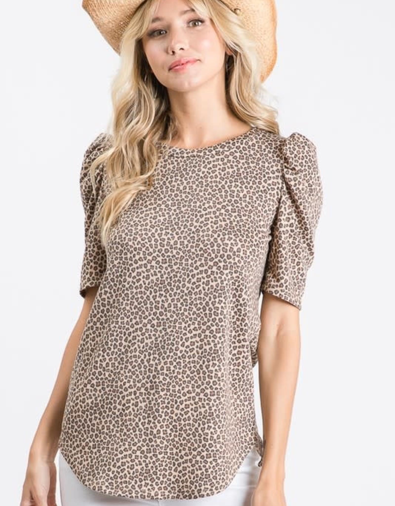 Animal Puff-Sleeve Top