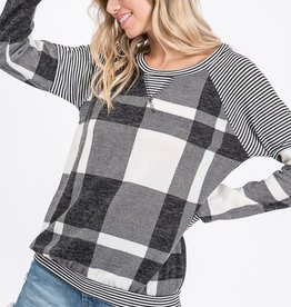 Brushed Mohair Plaid Sweatshirt