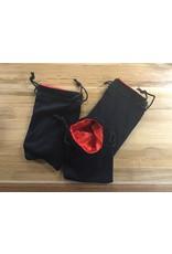 Velvet Dice Bag Large - Black & Red