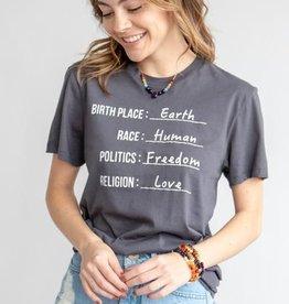Citizen of Earth (Coal Grey Organic Cotton Unisex Tee)