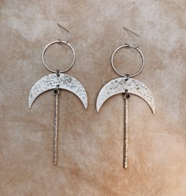 Flatwoods Fawn Anuket Earrings with Brass Crescents and Sticks