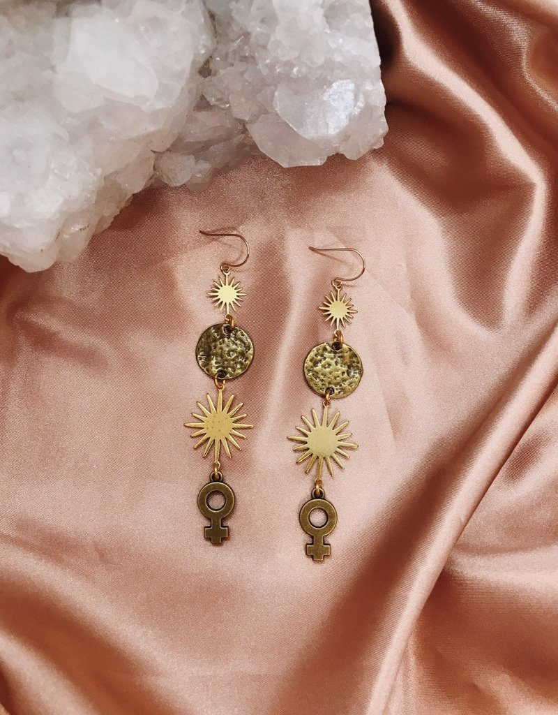 Flatwoods Fawn Decuma Earrings with Venus, Star, and Moon / Protection Talisman