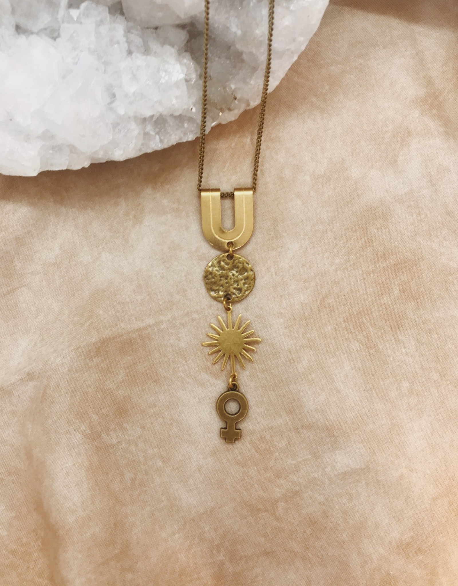 Flatwoods Fawn Decuma Necklace with Venus, Star, and Moon / Protection Talisman