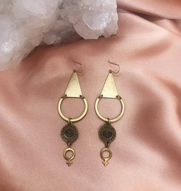 Flatwoods Fawn Female Gaze Earrings with Eye of Protection and Venus Goddess Charms