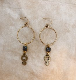 Flatwoods Fawn Goddess Bless Hoop Earrings with Venus Feminist Symbols and Labradorite