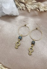 Flatwoods Fawn Goddess Bless Hoop Earrings with Venus Feminist Symbols and Labradorite (DC)