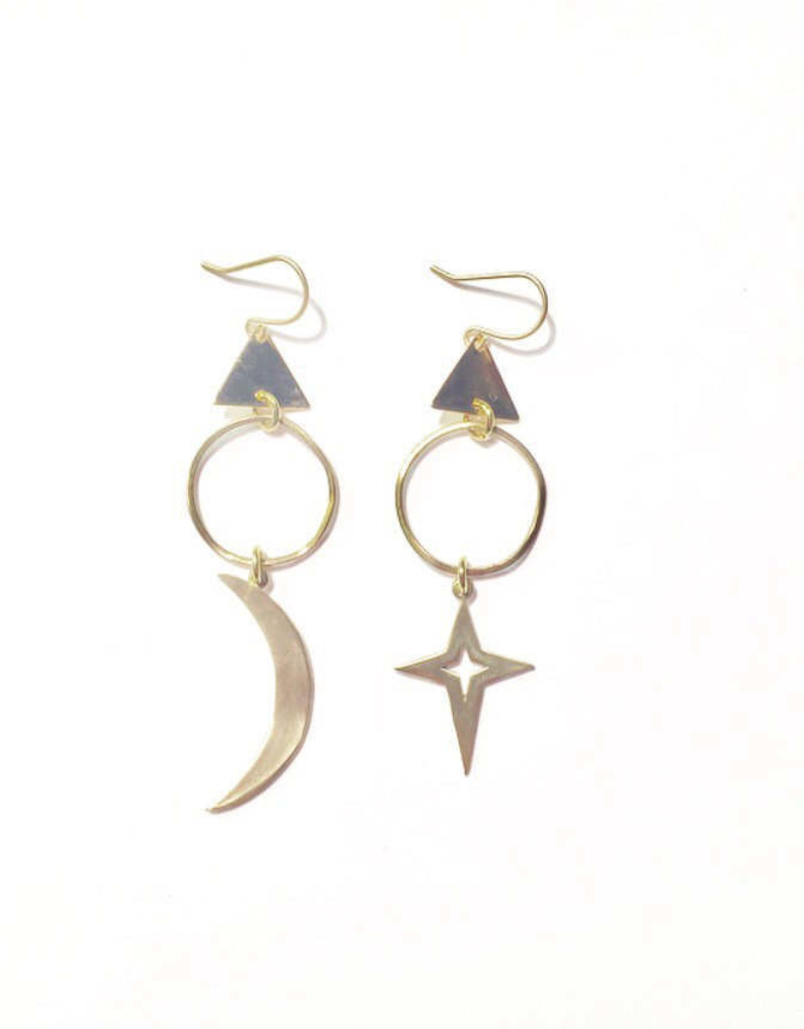 Flatwoods Fawn Moon and Star Witchy Celestial Mismatched Earrings With Gold Triangles