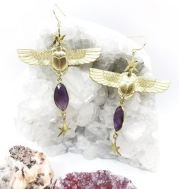 Flatwoods Fawn Resurrection Winged Scarab Earrings with Vintage Egyptian Scarabs, Amethyst, and Stars