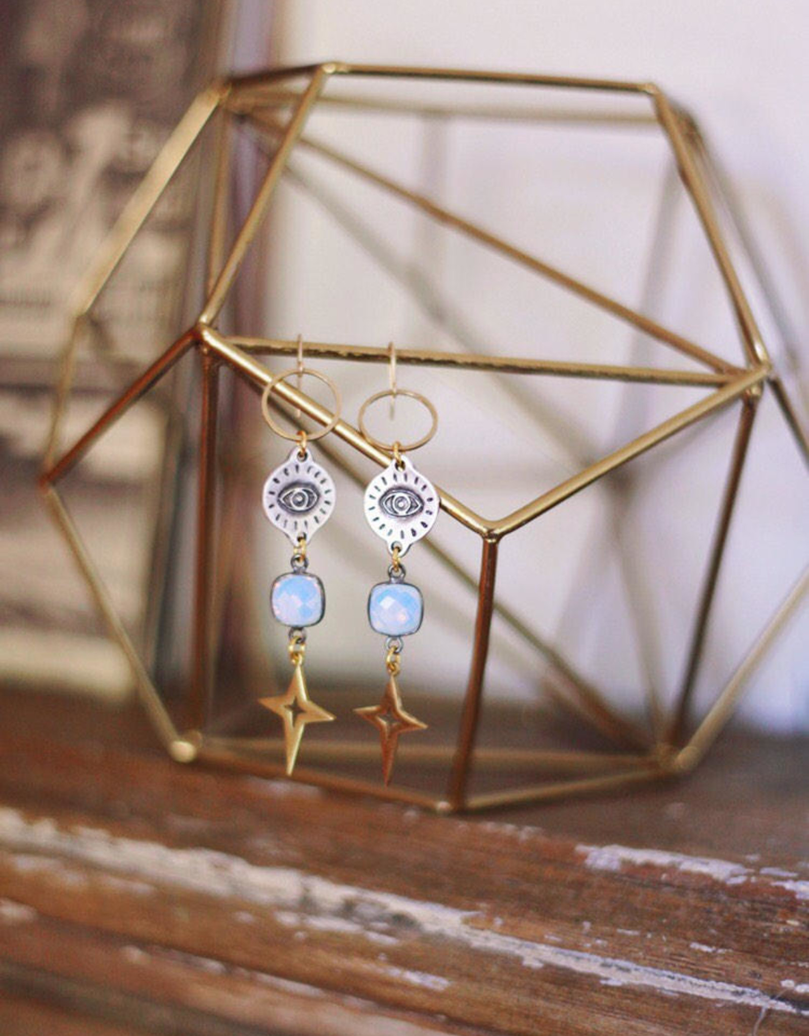 Flatwoods Fawn Space Queen Earrings with Evil Eye Charms and Stars Opalite