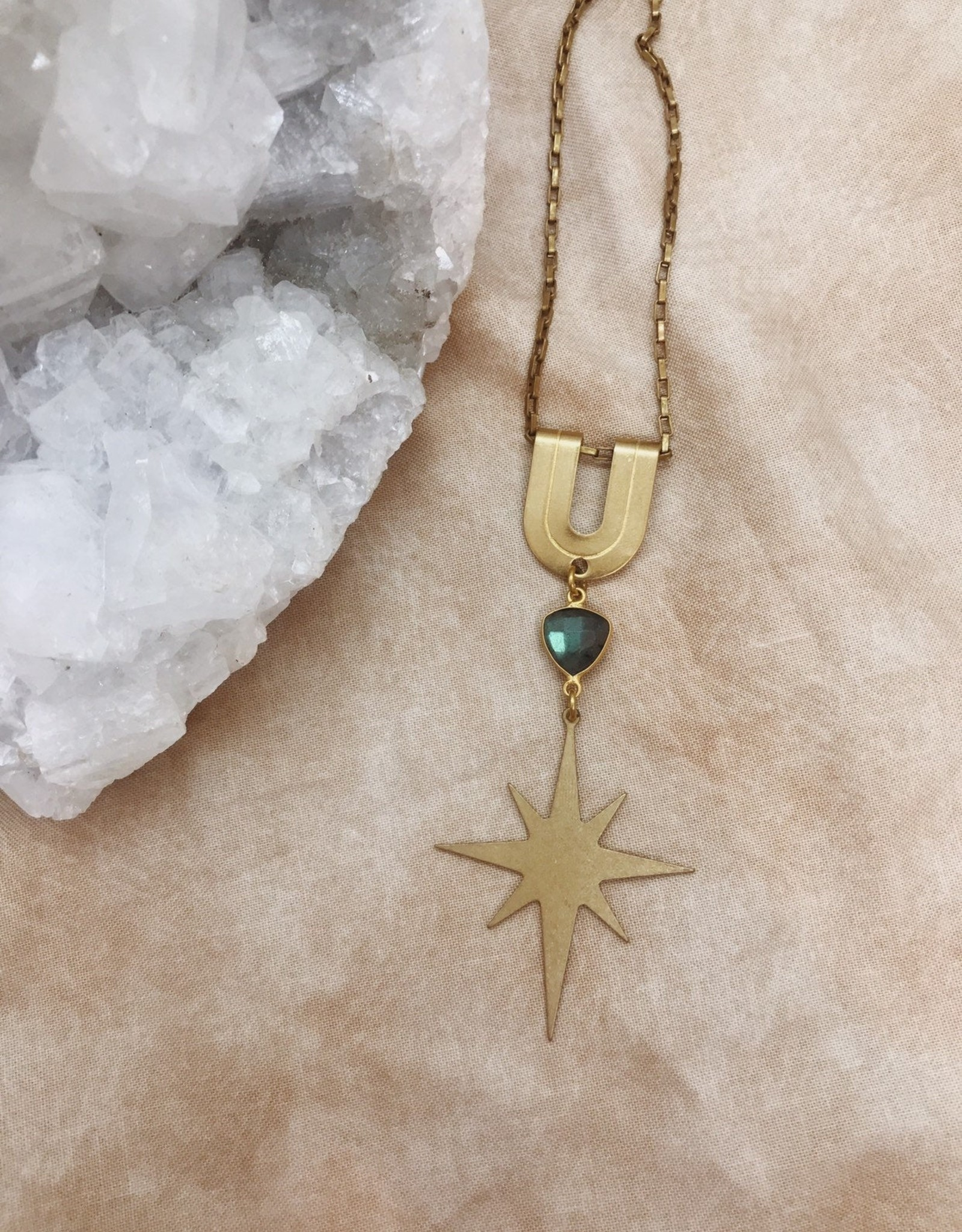 Flatwoods Fawn Spirit Guide Necklace with Brass Star and Labradorite