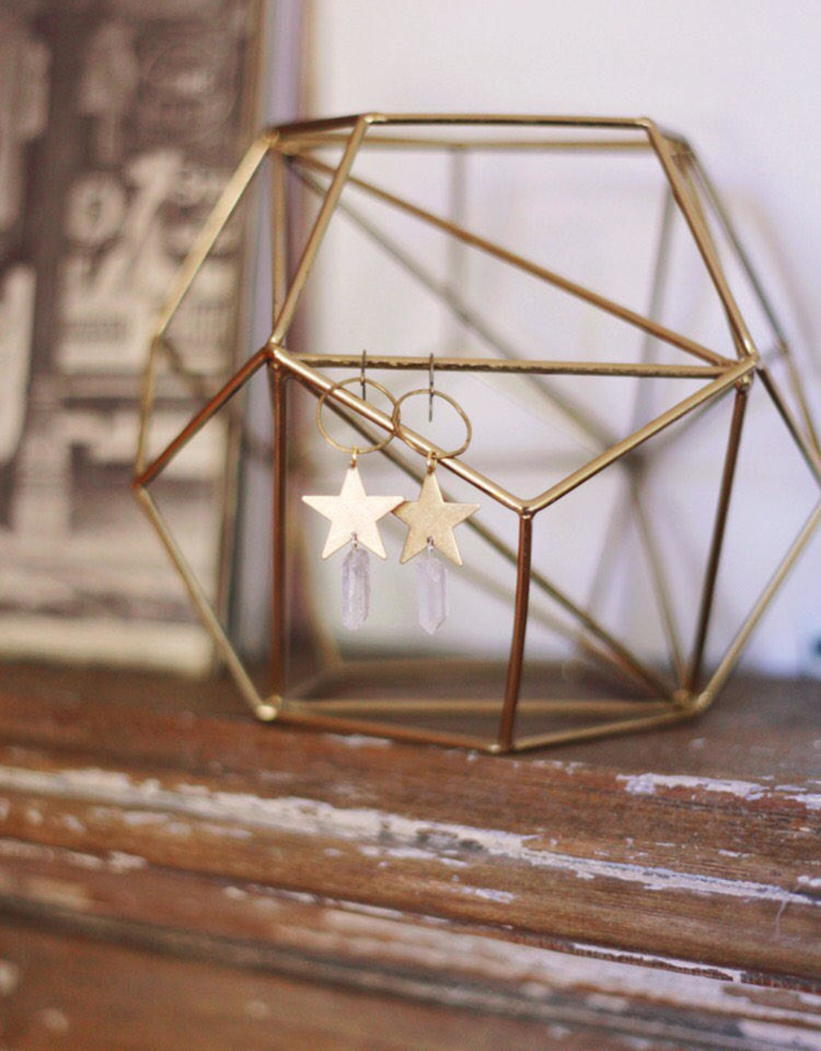 Flatwoods Fawn Star Wishes Earrings in Brass with Quartz Crystals