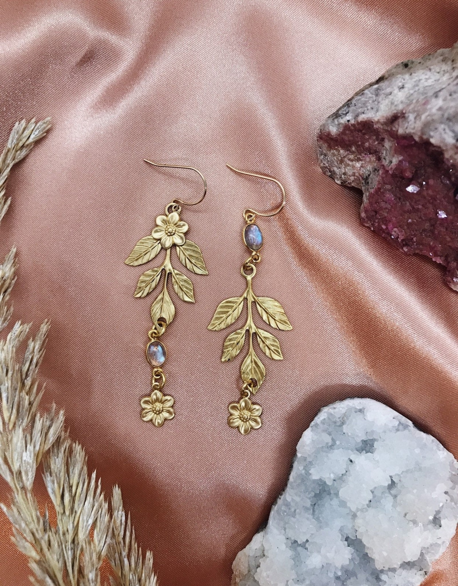 Flatwoods Fawn Mismatched Floral Dew Drop Earrings