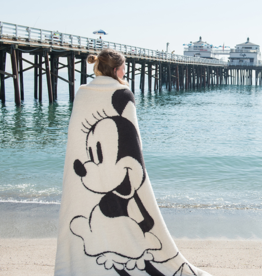 Barefoot Dreams Cozychic Classic Disney Minnie Mouse Blanket: Cream-Carbon