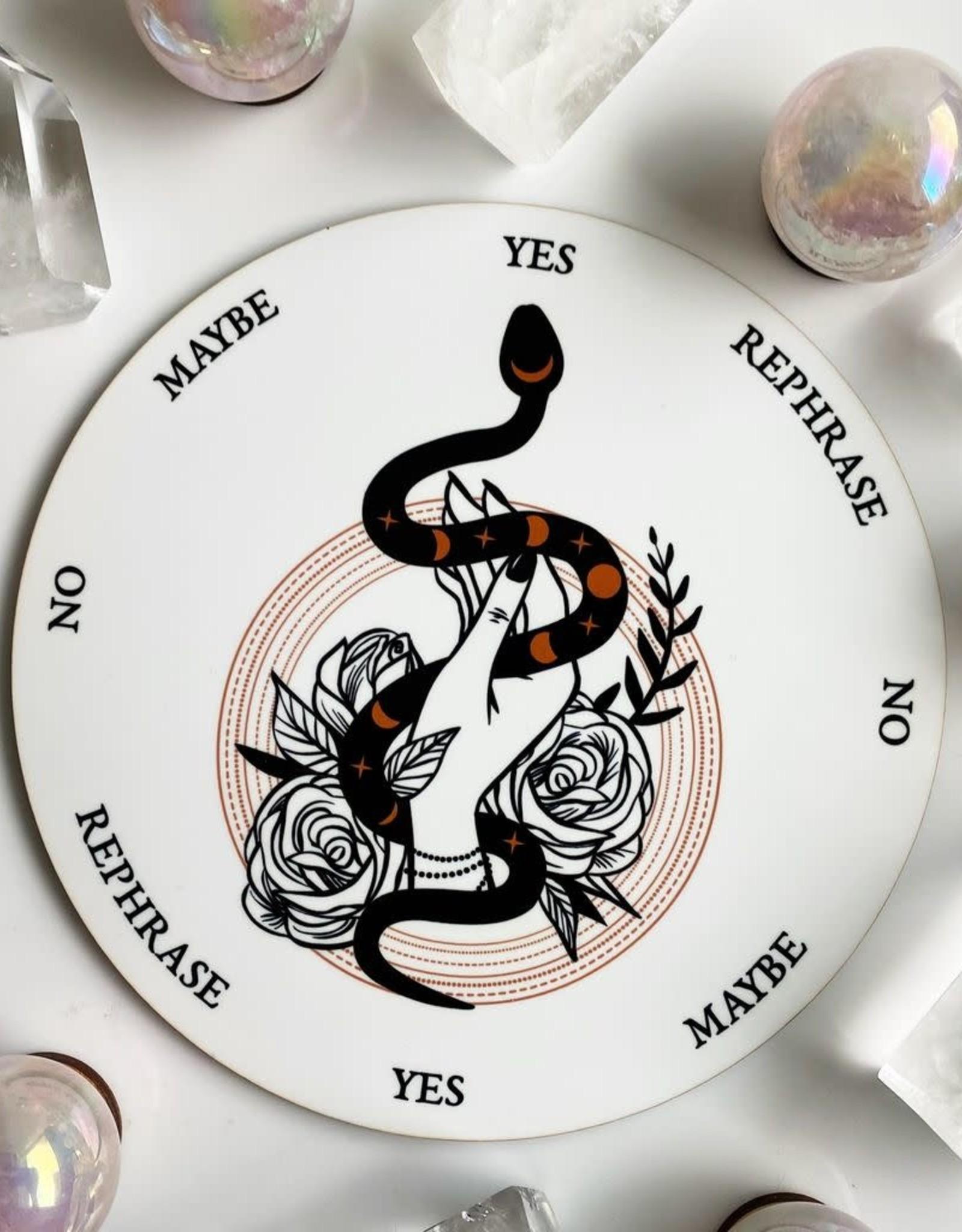 Flora and Nirvana Snake, Hand, Roses Pendulum Board
