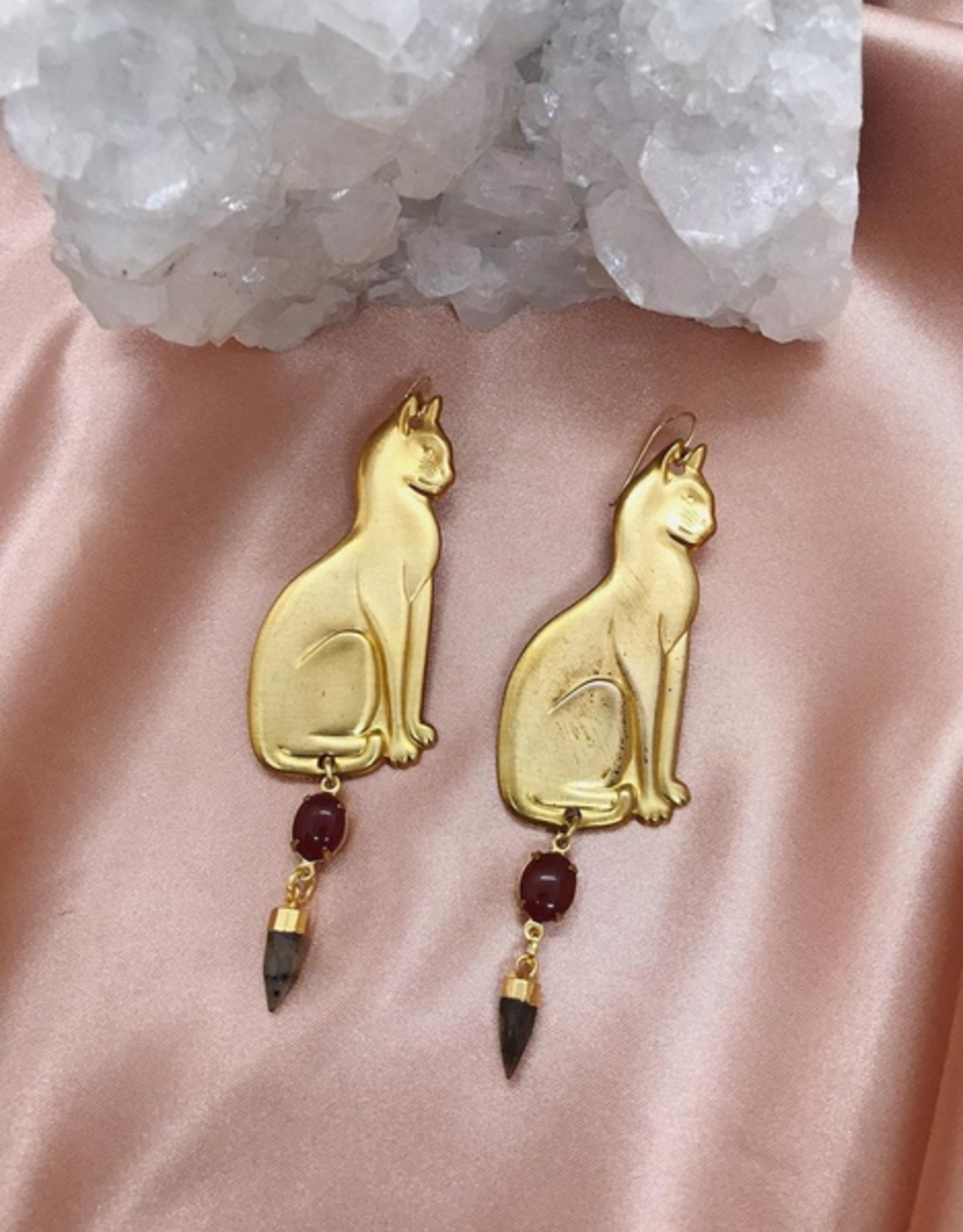 Flatwoods Fawn Cat Goddess Earrings with Vintage Brass Cats and Labradorite