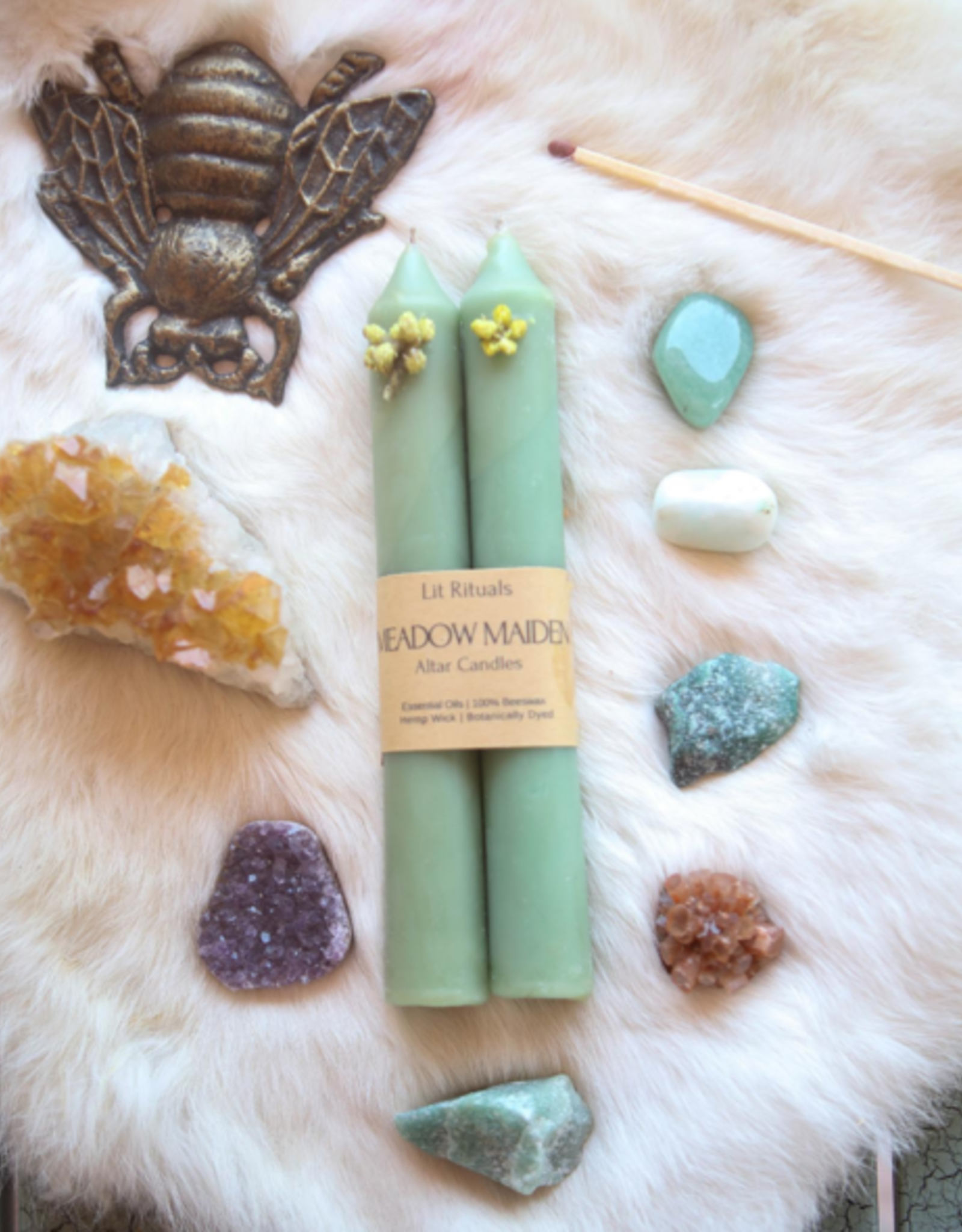 Litrituals Large 'Meadow Maiden' Beeswax Altar Candles