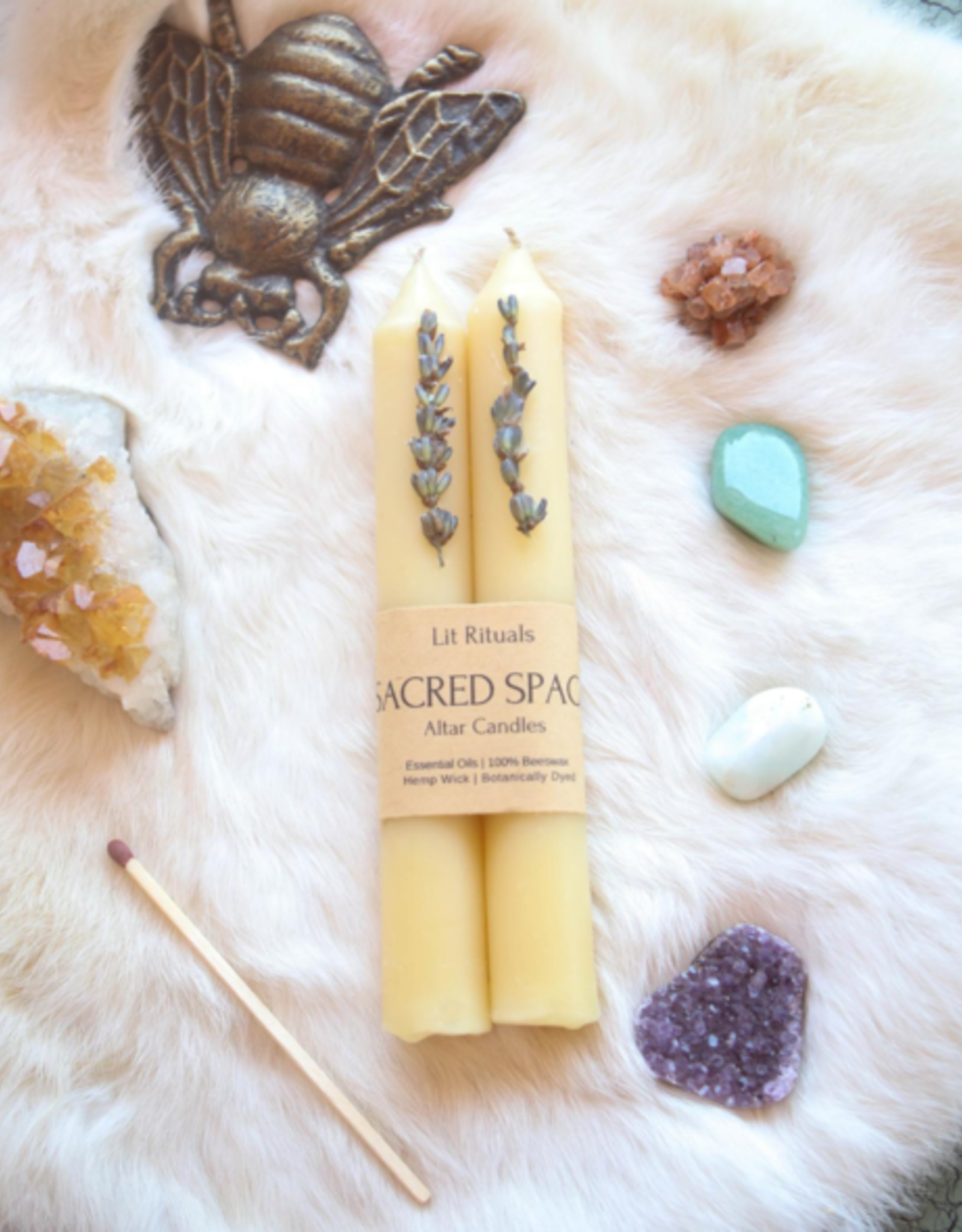 Litrituals Large 'Sacred Space' Beeswax Altar Candles