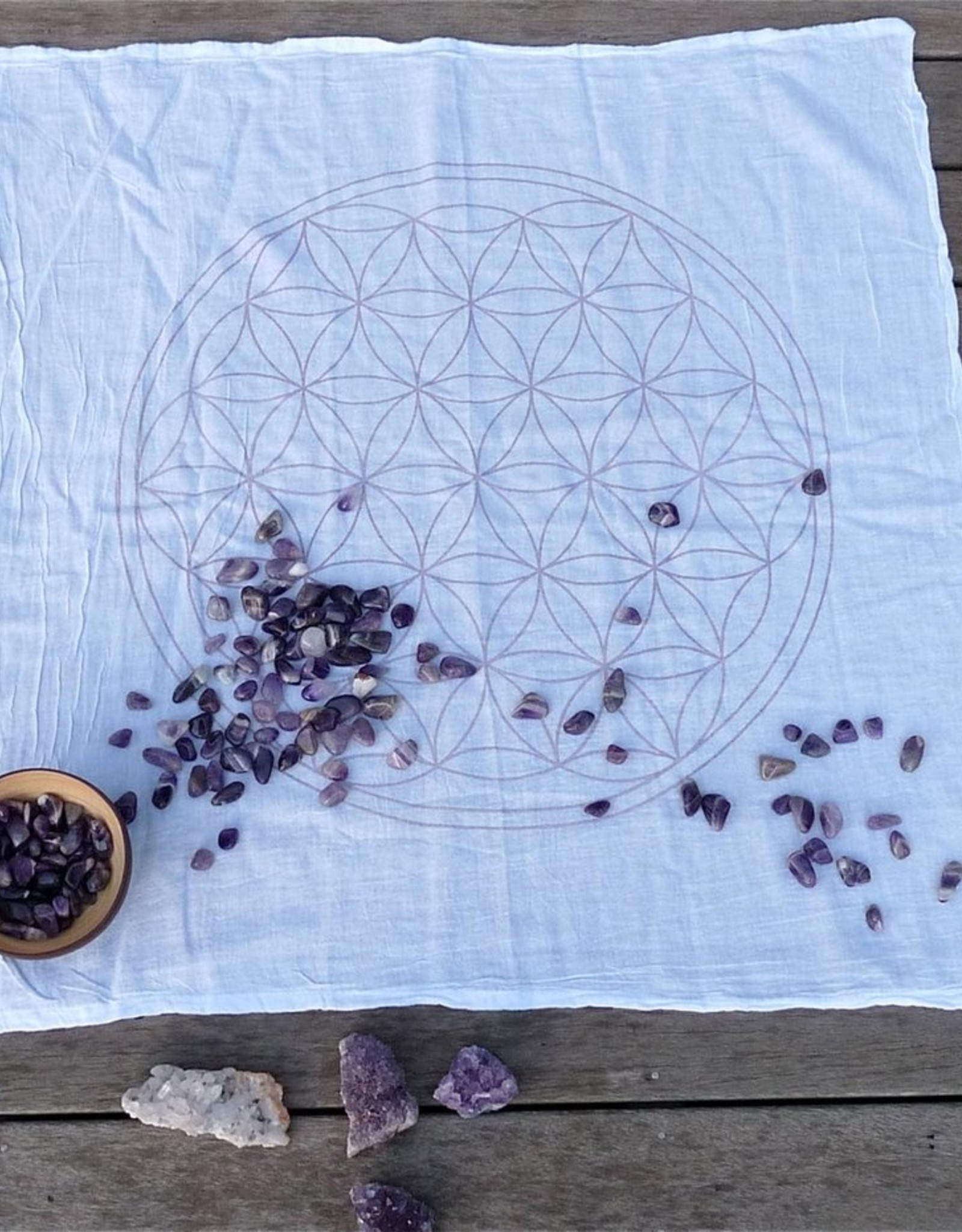 Crystal Grids XL Flower of Life - White Ink - Crystal Grid Cloth