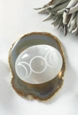 "Fractalista Designs Etched Selenite Palmstone: Triple Goddess Moon 2"""