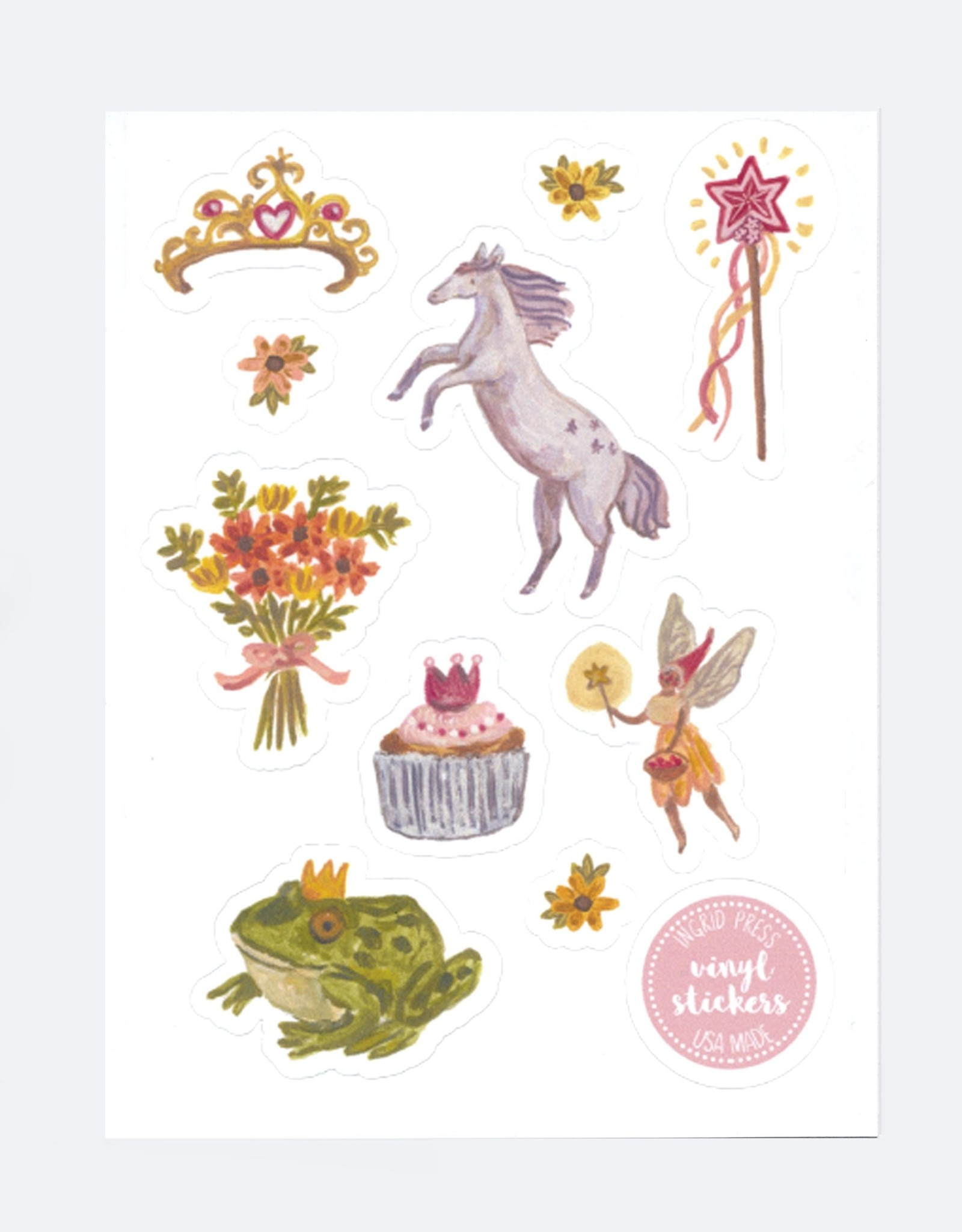 Ingrid Press Fairy Princess | Vinyl Die-Cut Sticker Sheet