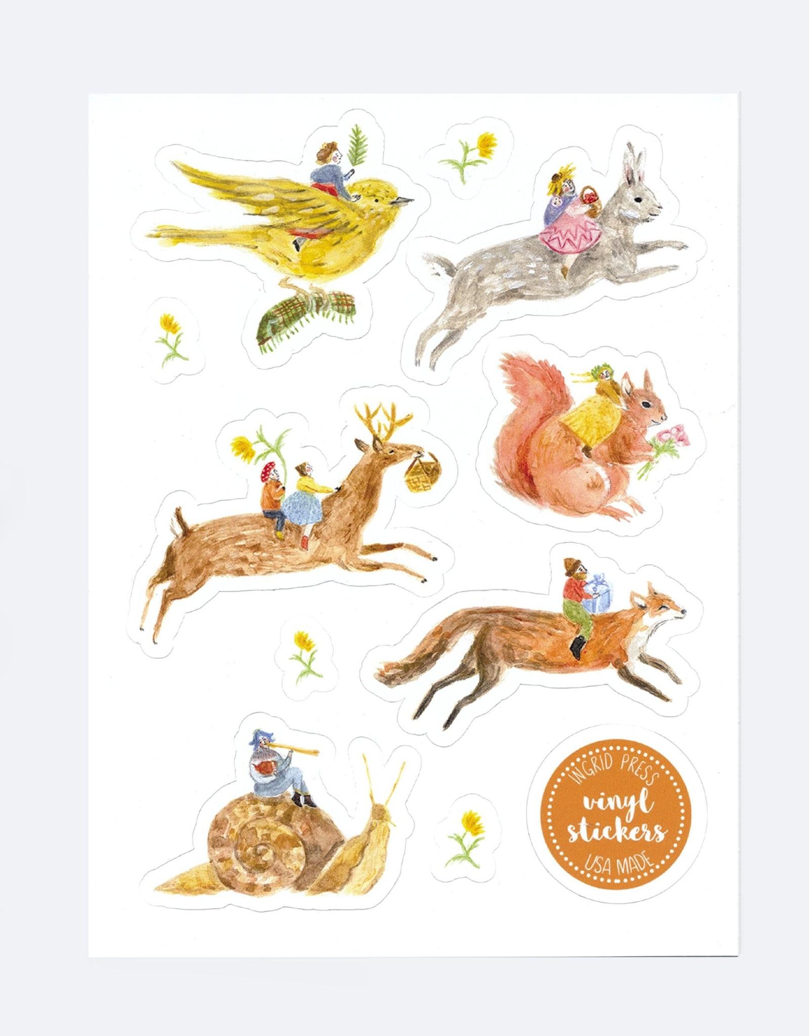 Ingrid Press Forest Folk | Vinyl Die-Cut Sticker Sheet