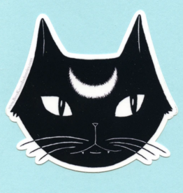 Bee's Knees Industries Black Lunar Cat Vinyl Sticker