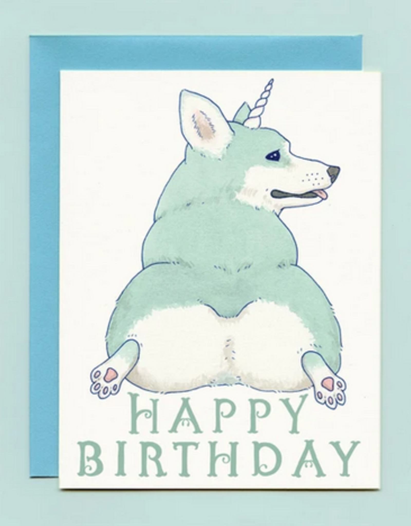 Bee's Knees Industries Unicorgi Birthday Card