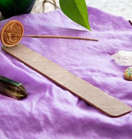 Most Amazing Woodcut Moon Long Incense Tray With Emblem