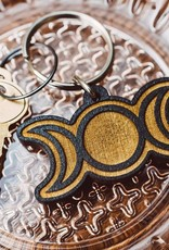 Most Amazing Triple Moon Wooden Keychain