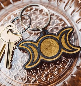 Most Amazing Triple Moon Wooden Keychain