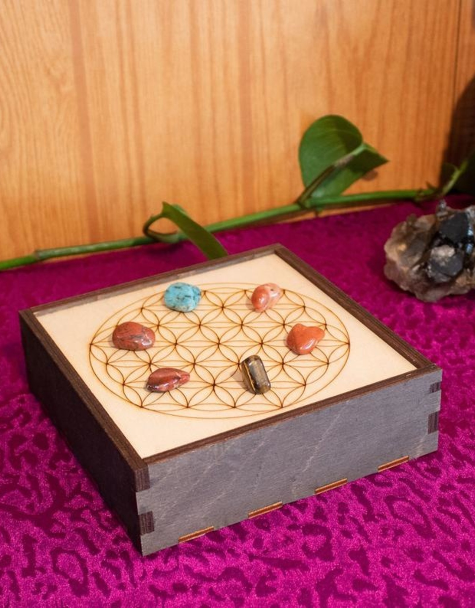 "Most Amazing Flower of Life Crystal Grid Box 6""X6"""