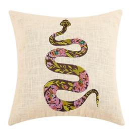Peking Handicraft Chocolate Rose Snake Embroidered Pillow