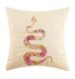 Peking Handicraft Pink Rose Snake Embroidered Pillow