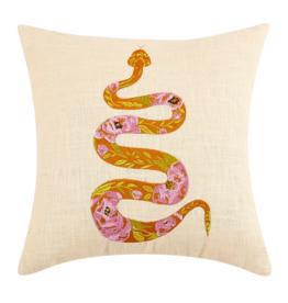 Peking Handicraft Orange Rose Snake Embroidered Pillow
