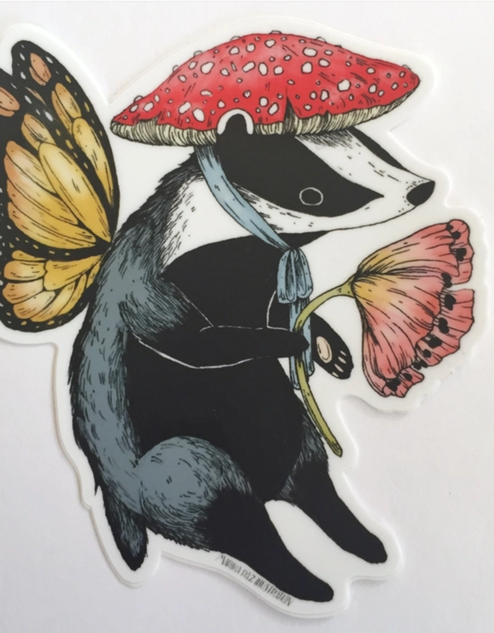 Marika Paz Illustration Badger Fairy Sticker*