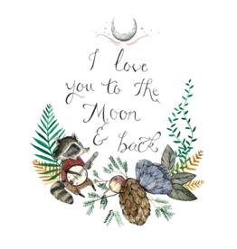 "Marika Paz Illustration 8.5"" x 11"" Love You To The Moon Art Print"