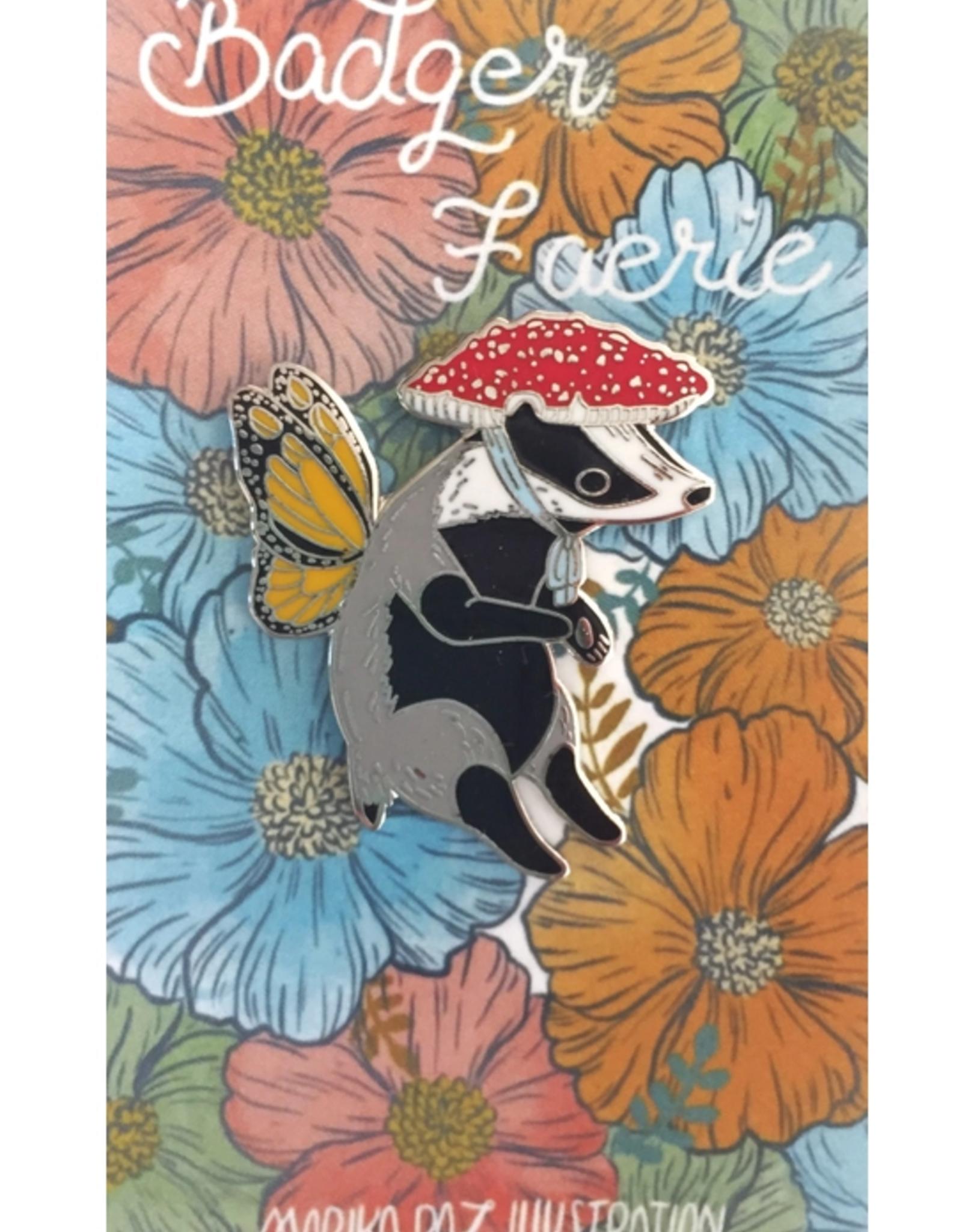 Marika Paz Illustration Badger Faerie Pin*