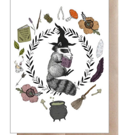 Marika Paz Illustration Magic Student Raccoon Greeting Card