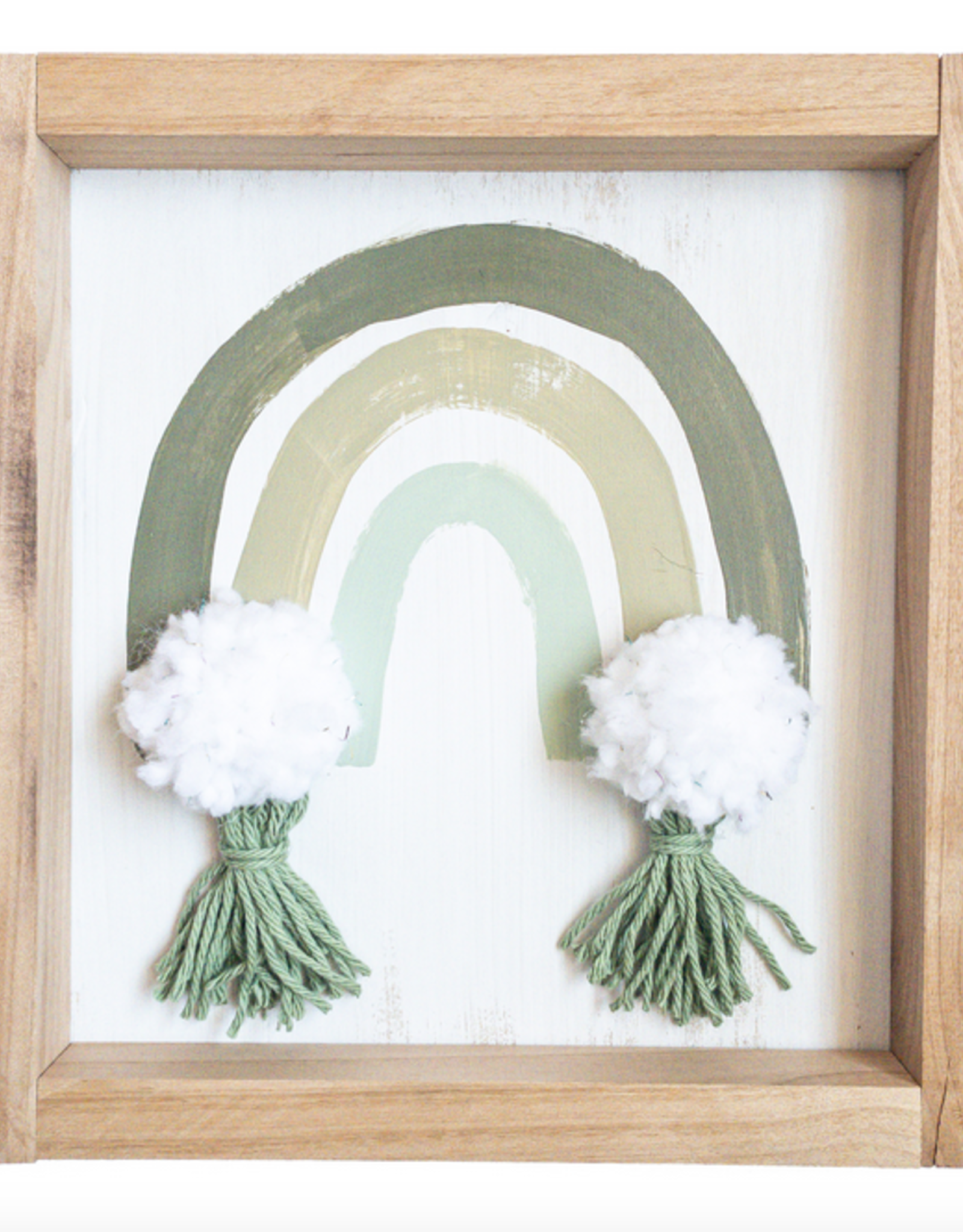 Love, Holston Rainbow with Pom Pom and Tassels (Green) 10x10