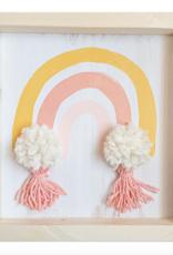 Love, Holston Rainbow Pom Pom (Coral) 10x10
