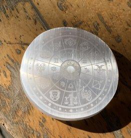 "Fractalista Designs ""Zodiac"" Round Selenite Charging Plate Crystal Grid: 3"" Circle (DC)"