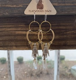 Flatwoods Fawn Spell Bound Earrings with Silver Palmistry Hand, Quartz Crystal Point, Brass Triangle, and Vintage Brass Beads