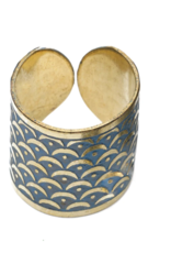 Matr Boomie *Art Deco Scallop Ring - Blue