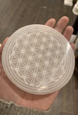 "Pelham Grayson Selenite Flower of Life Etched Plate 4"""